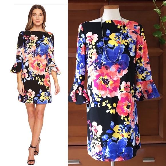 d368ca0f73d2 Tahari ASL Floral Scuba Crepe Shift Dress. M_5bc29faa1b3294d663c9050b